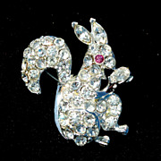 Fabulous Vintage Rhinestone Encrusted Squirrel With Nut Pin