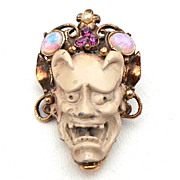 Ultra Rare FLORENZA Noh Mask Pin, Devil