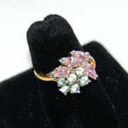 Huge Pink and Clear 18K Gold Electroplated Costume Cocktail Ring