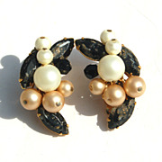 Vintage Signed EUGENE Black Speckled Rhinestone, Faux Pearl and Crystal Clip Earrings
