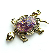Vintage Cats Eye Glass Stone TURTLE Pin