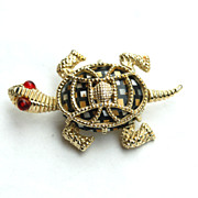 Vintage Checkered Mosaic Glass Stone TURTLE Pin