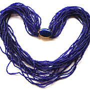 Vintage Signed EUGENE 20 Strand Glass Necklace, Faux Lapis Clasp