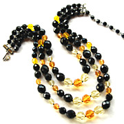 Vintage Signed EUGENE 3 Strand Crystal Necklace, Black Yellow Citrine