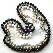 Vintage Signed EUGENE 3 Strand Crystal Glass Necklace, Black and White