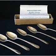 SALE 1940's Sweetheart Soap Premiums - Set of Six Wm Rogers International Silverplate Teaspoon
