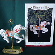 SALE Hallmark Series - Tobin Fraley Carousel Horse Ornament with Stand