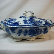 Clyde by Thomas Rathbone Flow Blue covered vegetable dish, 1898 - 1910