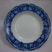 Clarendon Flow Blue Soup Bowl by Henry Alcock, 1890s