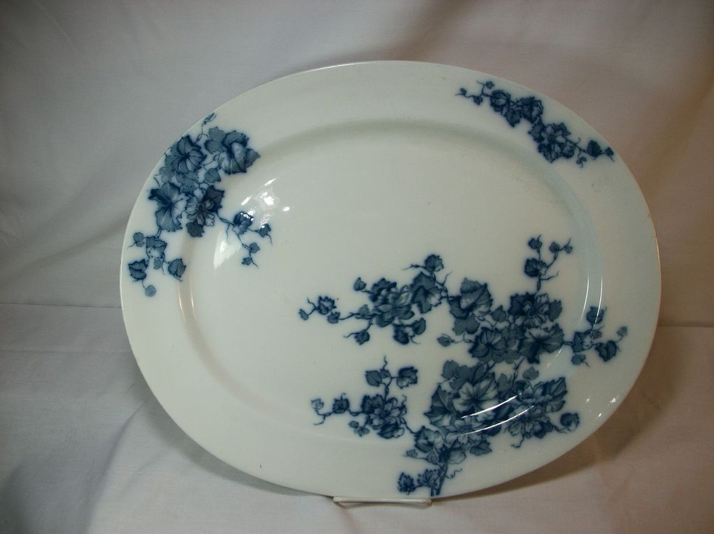 Flow Blue serving platter, Jesmond, C.T. Maling & Sons, 1893