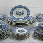 SOLD 12 place setting flow blue dinner service, Chantilly by Hancock
