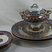 1860s 10-piece Flow Blue Mulberry Polychrome serving pieces, Grecian Border by Liddle, Elliot