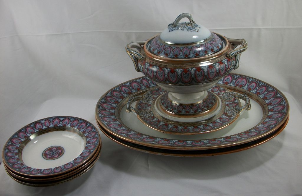 1860s 10-piece Flow Blue Mulberry Polychrome serving pieces, Grecian Border by Liddle, Elliot and Son