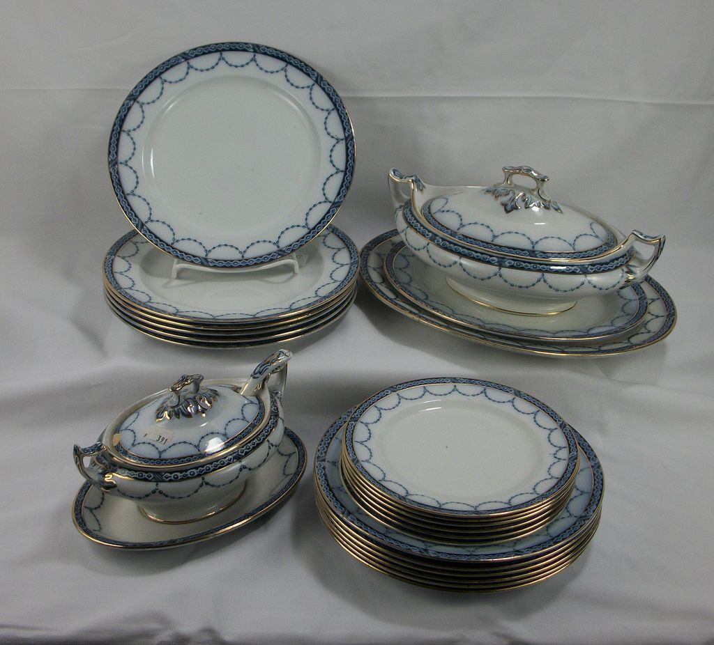 Six person flow blue dinner service, Gem by H. Alcock