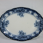 Late Victorian flow blue floral serving platter