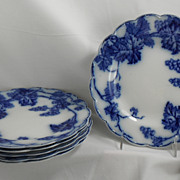 SOLD Set of Six Flow Blue Supper Plates, Warwick by Johnson Brothers