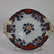 Orange Peony by Ridgway Flow Blue with ground red polychrome sauce tureen underplate
