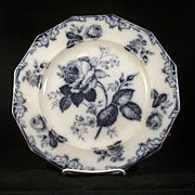 Moss Rose Mulberry Supper Plate by Furnival, 1860