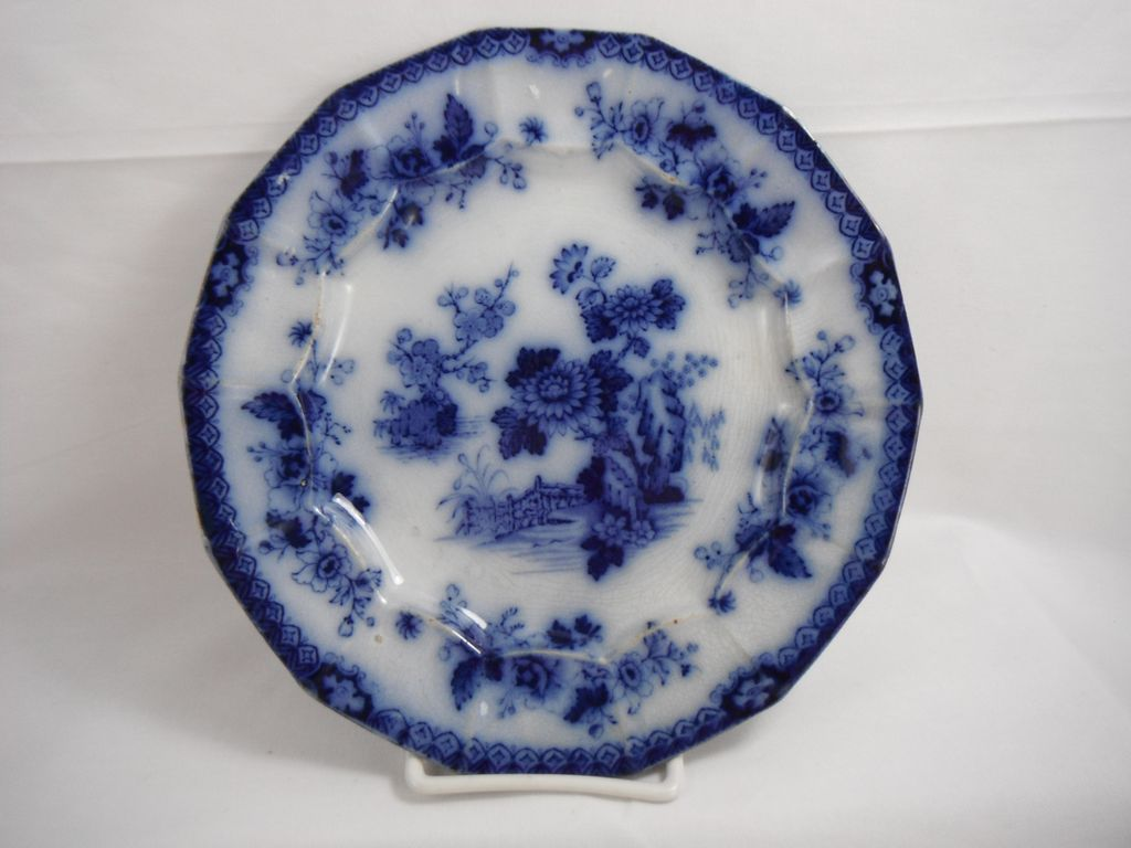 Flow Blue Indian Supper Plate by F & R Pratt, 1840s