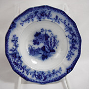 Flow Blue Indian Honey Plate or Berry Bowl or Relish Dish by F & R Pratt, 1840s