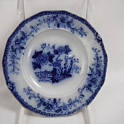 Flow Blue Indian Dessert or Cup Saucer Plate by F & R Pratt, 1840s