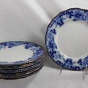 Flow Blue Supper Plates, Nankin by Royal Doulton, 1890s