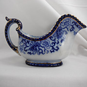Damaged Flow Blue Gravy Boat, Nankin by Royal Doulton, 1890s