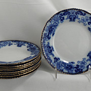 SOLD Flow Blue Salad Plates, Nankin by Royal Doulton, 1890s