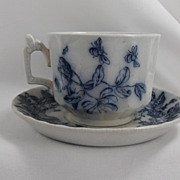 Flow Blue Woodbine Coffee Cup and Saucer, H & Co, 1890s