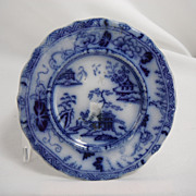 Flow Blue Cup Saucer Plate, Temple by Meigh, 1840s