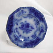 Flow Blue Cup Saucer Plate, Peking by an unknown maker, 1845