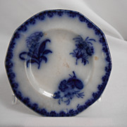 Flow Blue Honey Dish, Eastern Flowers by Mellor, Venables, 1840s