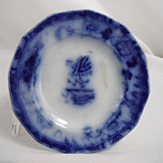 Flow Blue Cup Saucer Plate, Hong Kong by Charles Meigh, 1850s