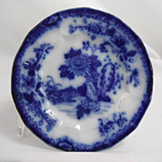 Flow Blue Cup Saucer Plate, Chrysanthemum by unknown maker, 1840s