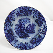 Flow Blue Cup Saucer Plate, Temple by unknown maker, 1840s