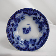 Flow Blue Honey Dish, floral pattern by unknown maker, 1840s