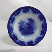 Flow Blue Honey or Relish Dish, floral pattern by Davenport, 1840s