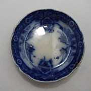 Flow Blue Butter Pat or Relish Dish, Raleigh by Burgess and Leigh, 1903