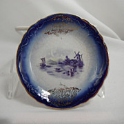 Flow Blue Butter Pats, Delft by an unknown maker, 1900-1910