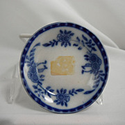 SOLD Flow Blue Butter Pat or Relish Dish, Madras by Upper Hanley Pottery, 1891 - 1910