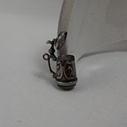 Sterling Silver Charm  - Embossed Beer Stein with Hinged Lid Motion
