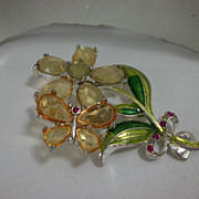 Vintage Faceted Glass and Enamel Flower and Butterfly Pin Brooch
