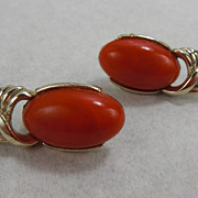 Vintage Coro Marbled Tomato Bakelite Clip Earrings