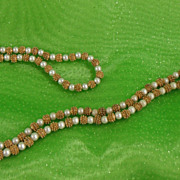 GoldTone Spike Bead and Glass Pearl Necklace, 1950s