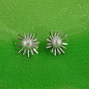 1960s Space Age Atomic Silvertone Clip Earrings