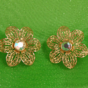 1970s Goldtone Filagree and Iridescent Crystal Clip Earrings
