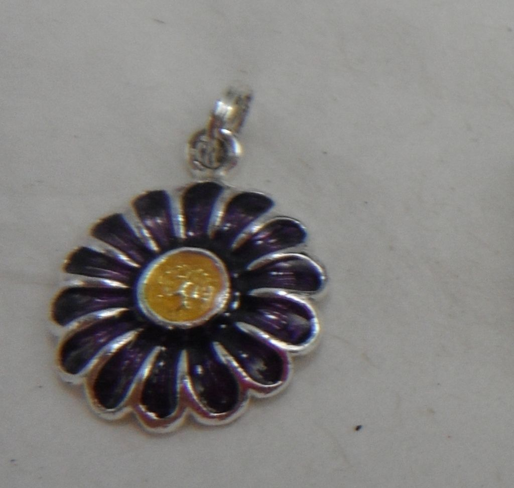 Sterling Silver Charm - Enameled Flower Daisy