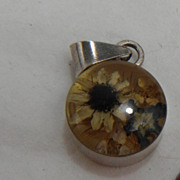 Sterling Silver Charm or Pendant - Flower Cluster in Resin