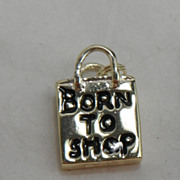 Sterling Silver Charm with Vermeil - Born to Shop Shopping Bag