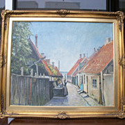 Sea Village, oil on canvas painting by Danish artist Houstrop, 1943